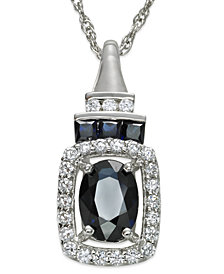 14k White Gold Necklace, Sapphire (1 ct. t.w.) and Diamond (1/5 ct. t.w.) Pendant