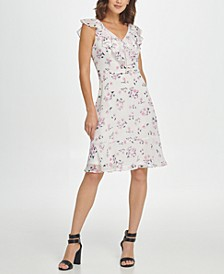 Sleeveless Fit & Flare Floral Tie Waist Dress