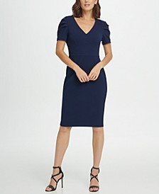 Puff Pleat Sleeve V-Neck Sheath Dress