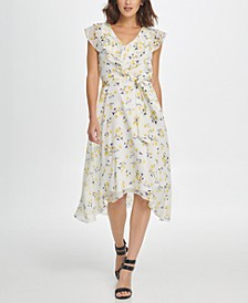 Midi Floral Ruffle V-Neck Dress