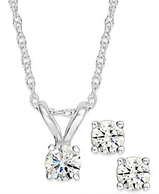 Round-Cut Diamond Pendant Necklace and Earrings Set in 10k Yellow or White Gold (1/4 ct. t.w.)