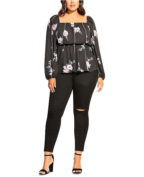 City Chic Trendy Plus Size French Blooms Top