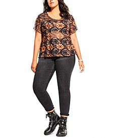 Trendy Plus Size Mesh Tie-Dyed Top
