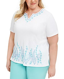 Plus Size Sea You There Embroidered Top