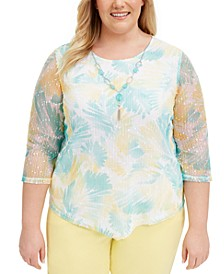 Plus Size Spring Lake Printed-Mesh Top