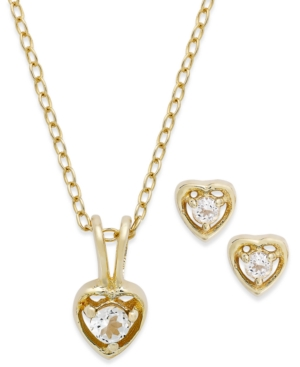 Children's 18k Gold over Sterling Silver Necklace and Earrings Set, April Birthstone White Topaz Heart Pendant and Stud Earrings Set (1/5 ct. t.w.)
