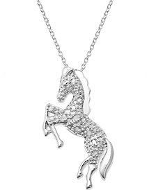 Diamond Horse Pendant Necklace in Sterling Silver  (1/10 ct. t.w.)