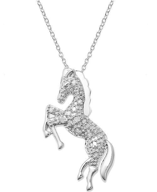 Undefined horse pendant necklace in sterling silver 110 ct tw main image main image mozeypictures Gallery
