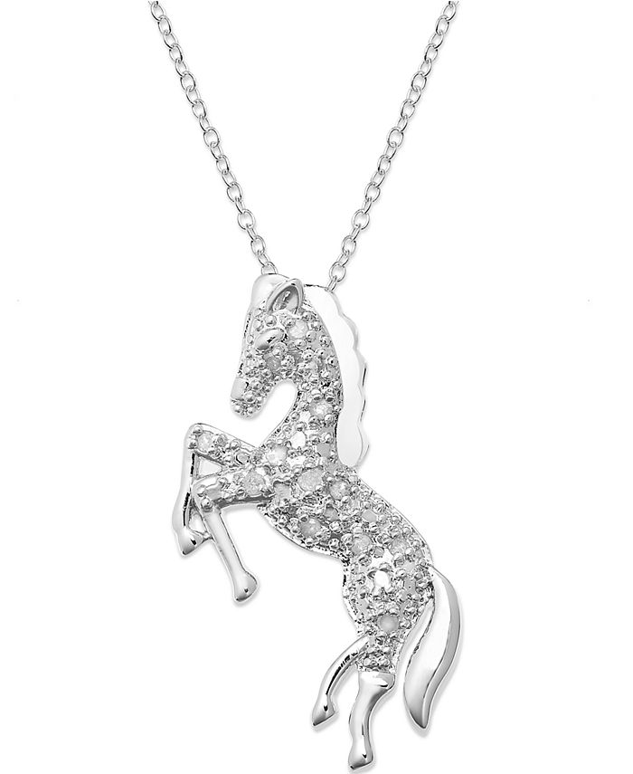 Macy's - Diamond Horse Pendant Necklace in Sterling Silver  (1/10 ct. t.w.)
