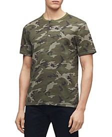 Calvin Klein Men's Short Sleeve Monogram Camo Henley Shirt