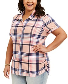 Trendy Plus Size Ruched Plaid Shirt