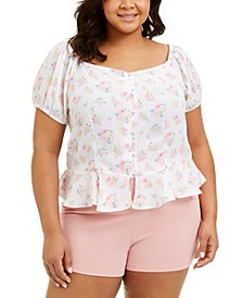 Trendy Plus Size Floral-Print Peplum Top