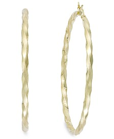 Twist Hoop Earrings in 14k Gold Plated Sterling Silver