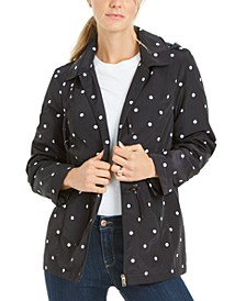 Petite Dot-Print Hooded Anorak Jacket, Created for Macy's