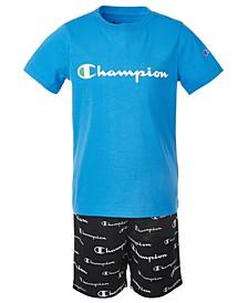 Little Boys 2-Pc. Essential Script Logo T-Shirt & Allover Script Logo Shorts Set