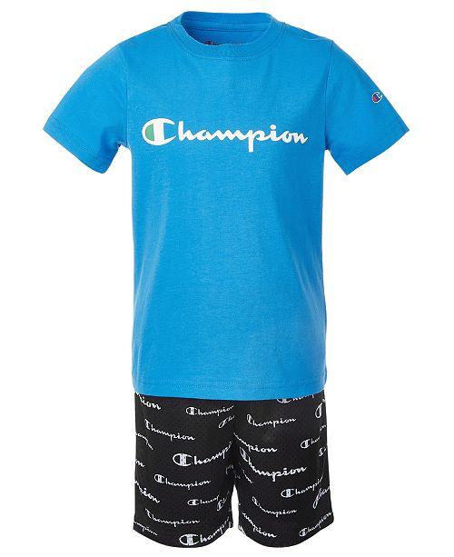 Champion Little Boys 2-Pc. Essential Script Logo T-Shirt & Allover Script Logo Shorts Set