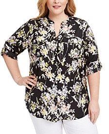 Plus Size Floral-Print Button-Up Top
