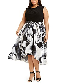 Plus Size Embellished-Neck Floral-Skirt Dress