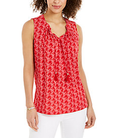 Charter Club Printed Drawstring-Neck Top, Created for Macy's