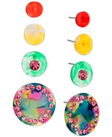 Gold-Tone 4-Pc. Set Pavé Circle Stud Earrings