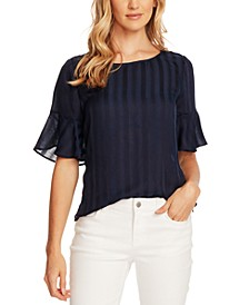 Striped Flutter-Sleeve Top
