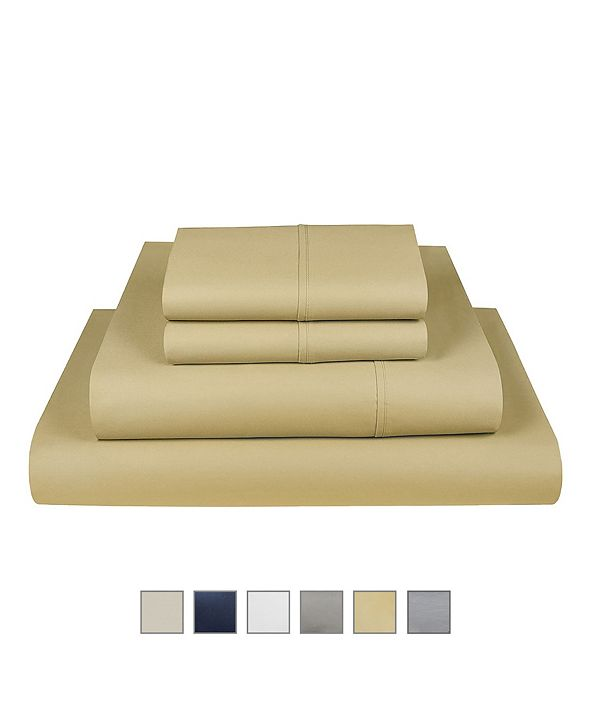 Fisher West New York The Village 500 Thread Count Cotton King Sheet 4-Piece Set, Fits Mattress Upto 17""