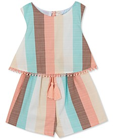 Baby Girls Striped Popover Romper