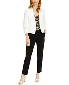 Ruched-Sleeve Jacket, Printed Top & Pants, Created for Macy's