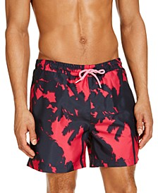 "INC Men's Kai Abstract Palm Tree 5"" Swim Trunks, Created for Macy's"