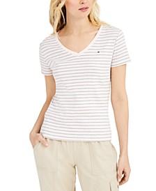 Cotton Striped V-Neck Top