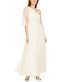 Eliza J One-Shoulder Polka-Dot Gown