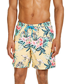 "Club Room Men's Hibiscus Floral 7"" Swim Trunks, Created for Macy's"