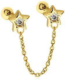 Double Cubic Zirconia Stars 10K Gold-Tone Sterling Silver-Tone Ear Chain Studs