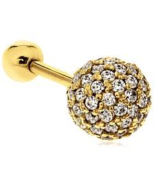Large Cubic Zirconia Ball 10K Gold-Tone Tragus Stud