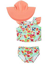 Toddler Girls Tulip Back 2-Piece Bikini Swimsuit with Bow Swim Hat Set
