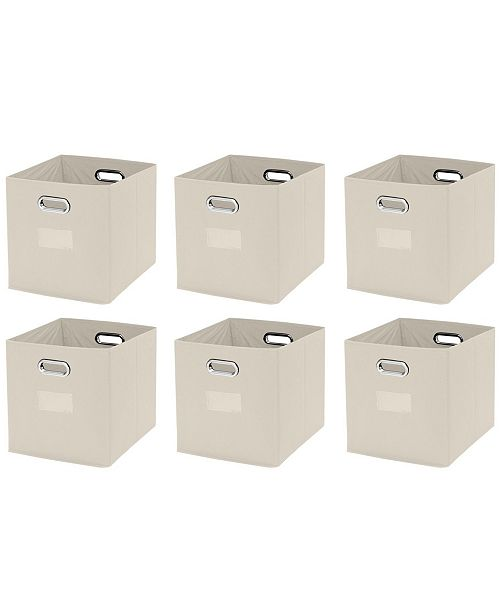 Ornavo Home Foldable Storage Bins Basket Cube Organizer with Dual Handles and Window Pocket - 6 Pack