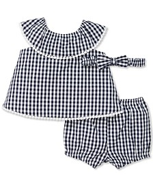 Baby Girls 3-Pc. Cotton Gingham-Print Headband, Tunic & Shorts Set