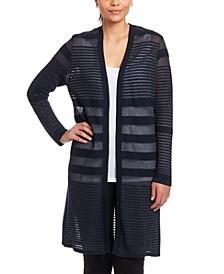 Shadow-Stripe Textured Cardigan