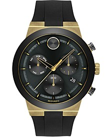 Men's Swiss Chronograph BOLD Black Silicone Strap Watch 44mm