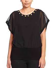 Grommet-Trim Mesh Top