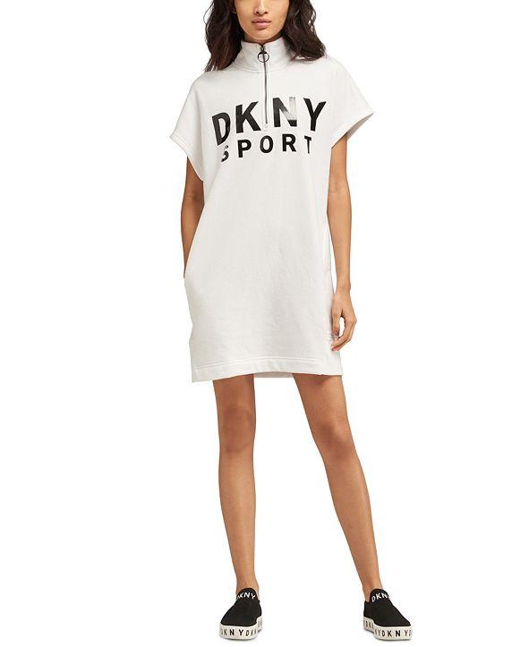 DKNY Sport Quarter-Zip Logo Dress