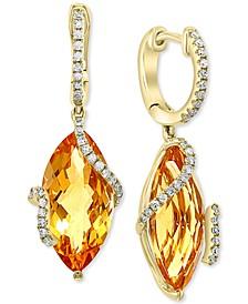 Sunset by EFFY® Citrine (8-1/2 ct. t.w.) & Diamond (1/4 ct. t.w.) Drop Earrings in 14k Gold
