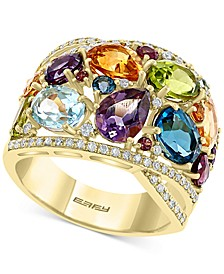EFFY® Multi-Gemstone (7-1/4 ct. t.w.) & Diamond (1/3 ct. t.w.) Statement Ring in 14k Gold
