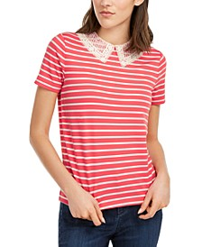Striped Lace-Collar Top, Created for Macy's