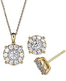 2-Pc. Set Diamond Halo Pendant Necklace & Matching Stud Earrings (2 ct. t.w.) in 14k Gold