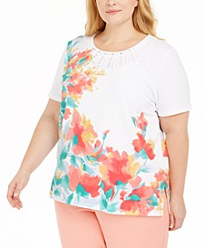 Plus Size Classics Embellished Floral-Print Top