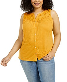 Plus Size Eyelet-Yoke Top, Created for Macy's