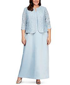 Alex Evenings Plus Size Lace Dress & Jacket