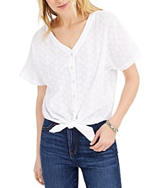 Petite Cotton Textured Tie-Front Top, Created for Macy's