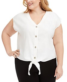 Plus Size Tie-Hem Linen Top